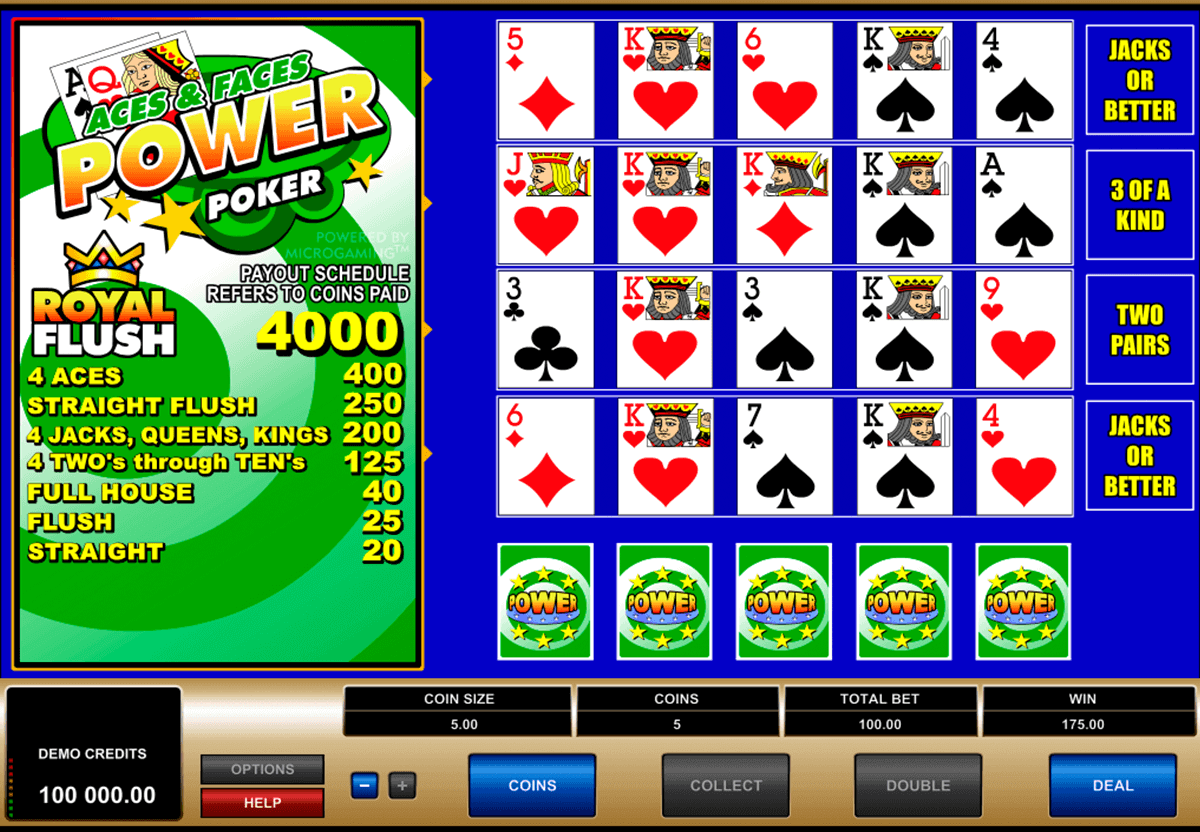 aces and faces  play power poker microgaming video poker