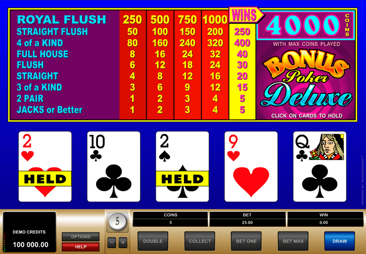 bonus poker delue microgaming video poker