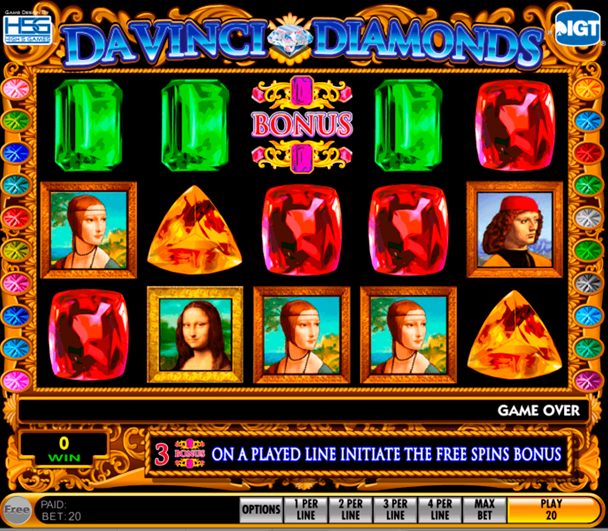 da vinci diamonds igt spelautomat