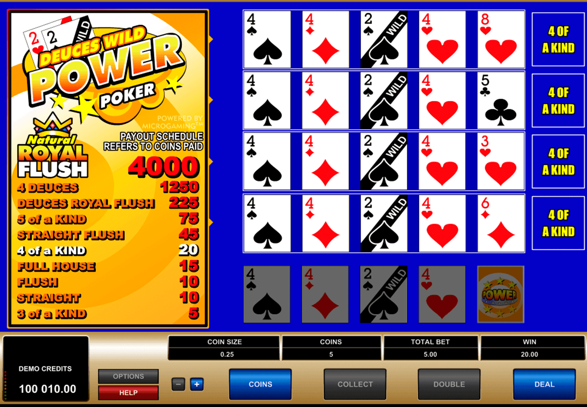 deuces wild 4 play power poker microgaming video poker