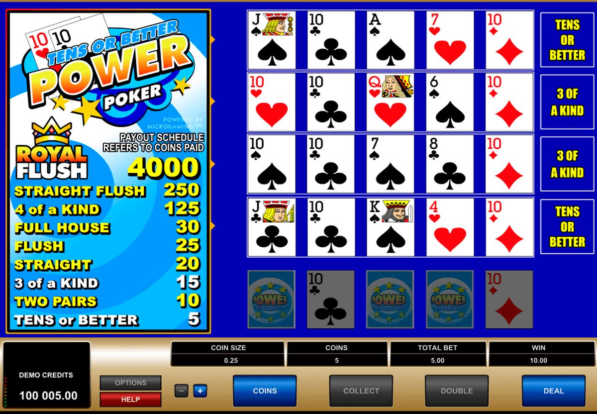 tens or better  play power poker microgaming video poker