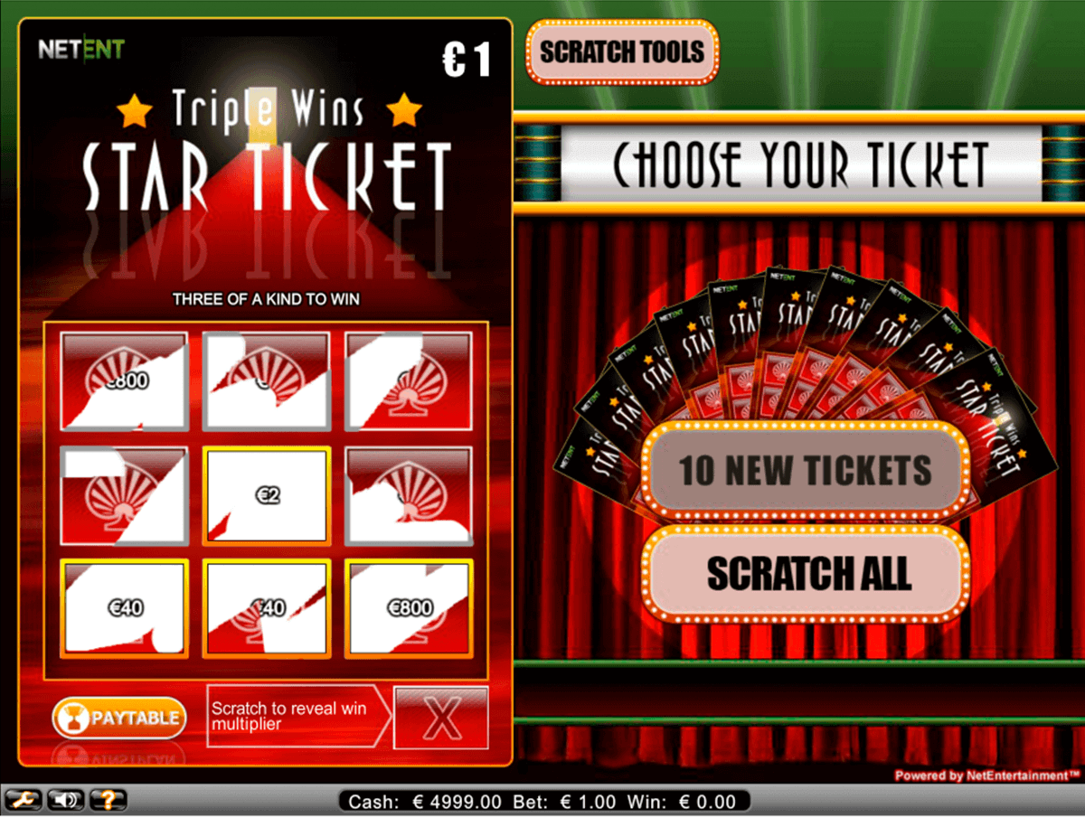 triple wins star ticket netent skraplott online