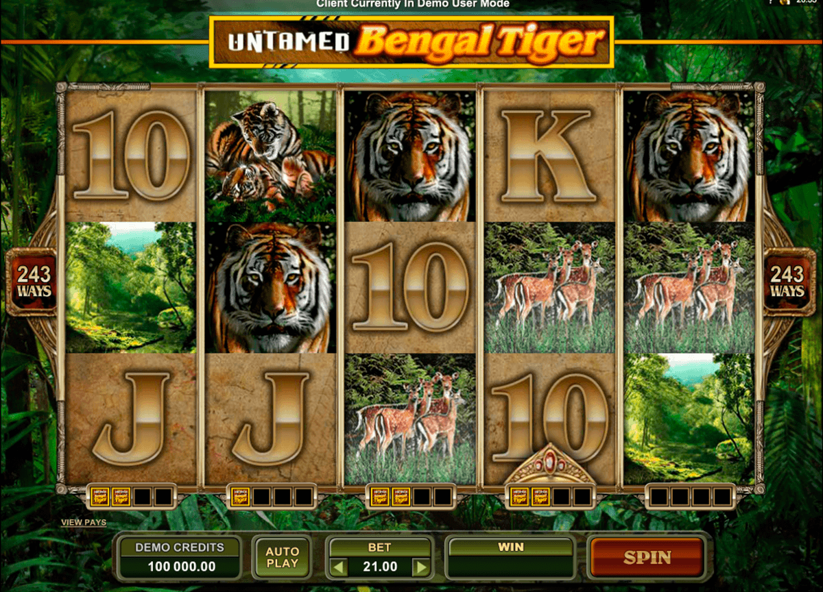 untamed bengal tiger microgaming spelautomat