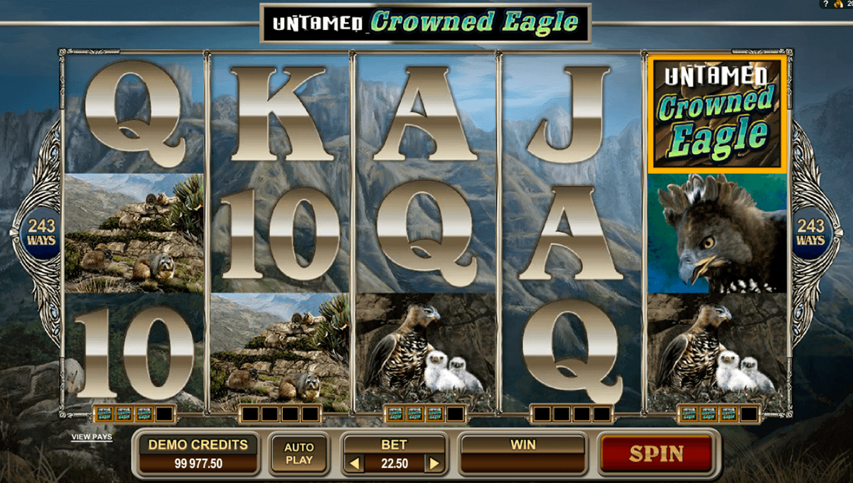 untamed crowned eagle microgaming spelautomat