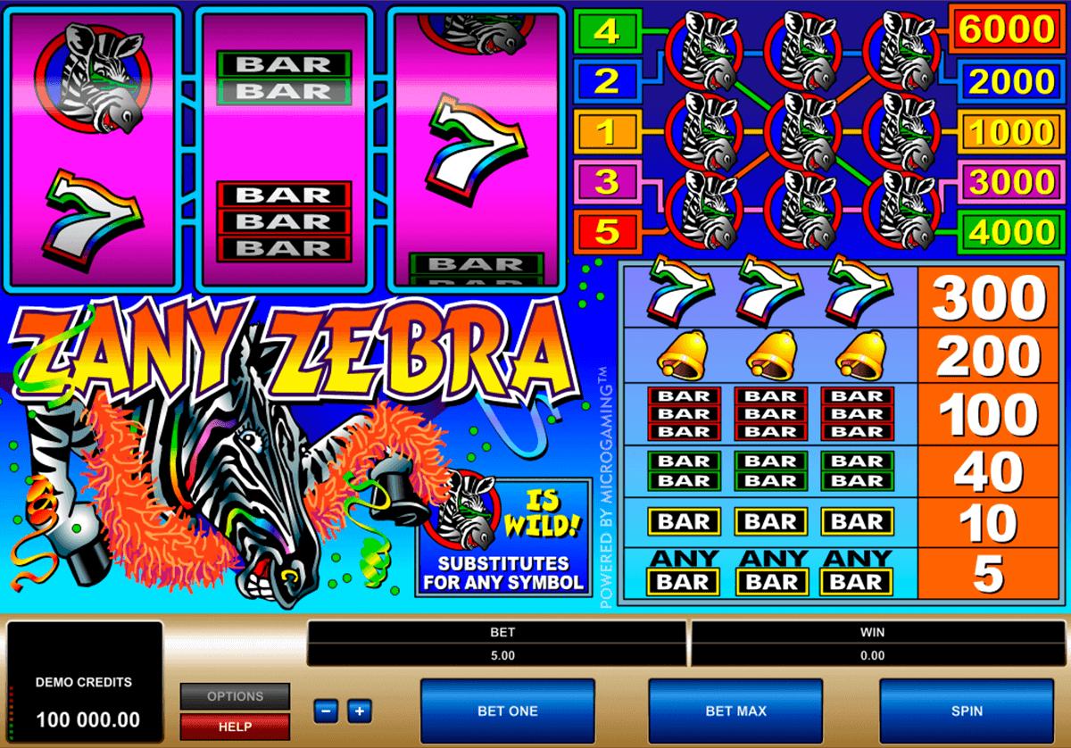 zany zebra microgaming spelautomat