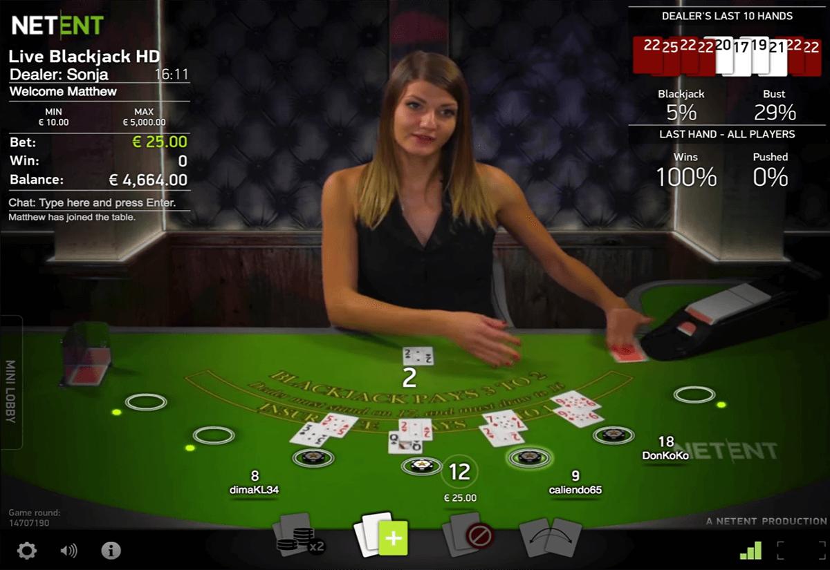 live blackjack netent casino
