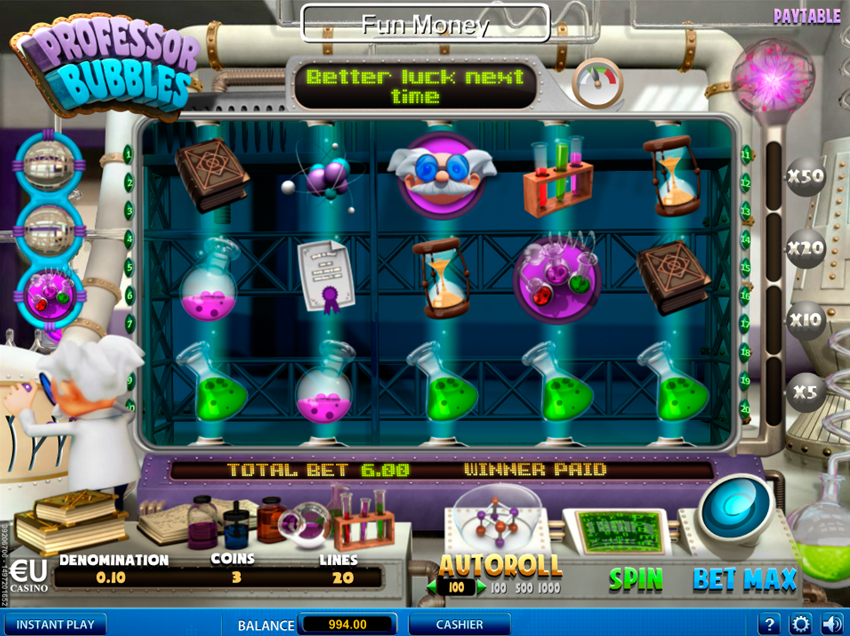 Play The Free Slot Professor Bubbles From SkillOnNet Casinos
