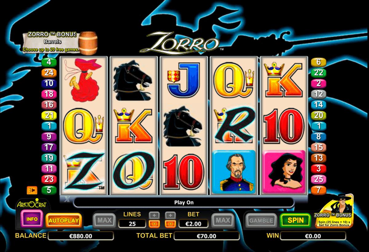 Zorro™ Slot spel spela gratis i Aristocrat Online Casinon